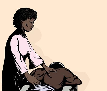 back rub: Massage therapist working on back of muscular Black man