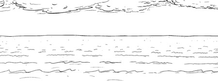 Background outline illustration of wide ocean water surface Ilustração