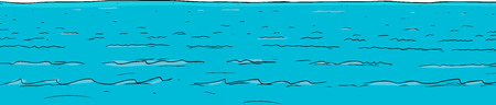 Cartoon background of blue sea water with waves Ilustração