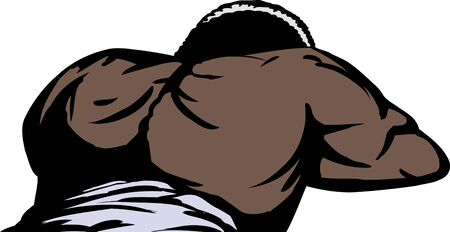 Isolated African man laying face down bare back 일러스트