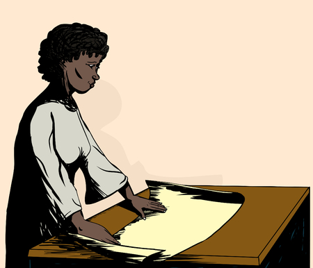 Illustration of a pretty woman working with map on table Ilustração