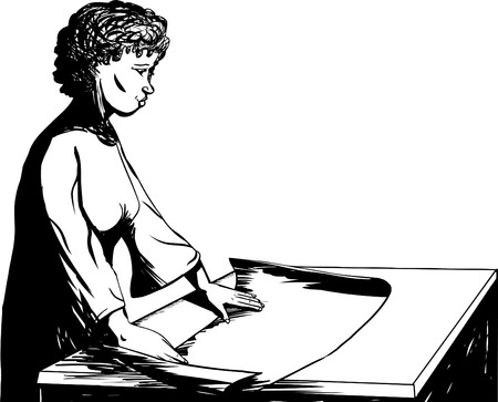 Outline illustration of female architect at table