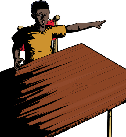 insulted: Single upset Black teenager at table pointing finger