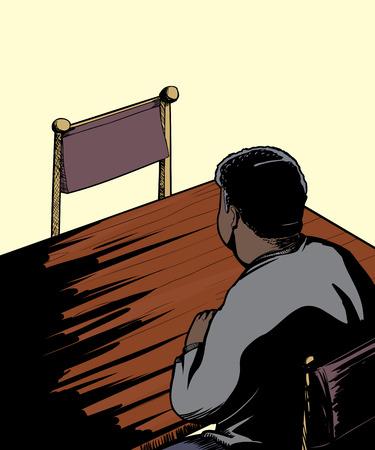 Single man zittend aan tafel geconfronteerd met een lege stoel