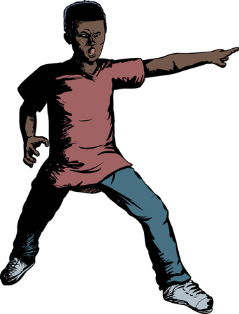 man pointing: Single African teenage young man pointing finger