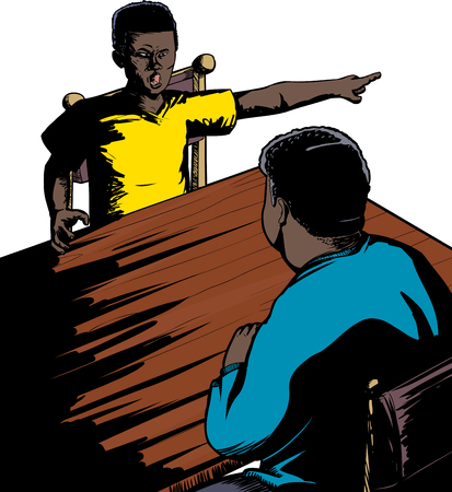 Illustration of rude male teenager yelling at parent Illustration
