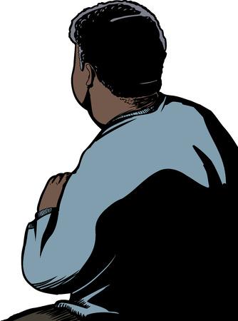 ilustraciones africanas: Ilustraci�n vista posterior aislada del hombre en cuclillas