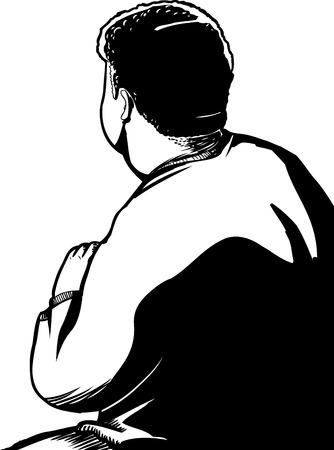Achter schets van één man gehurkt view