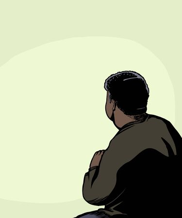 crouching: Rear view illustration of single man crouching