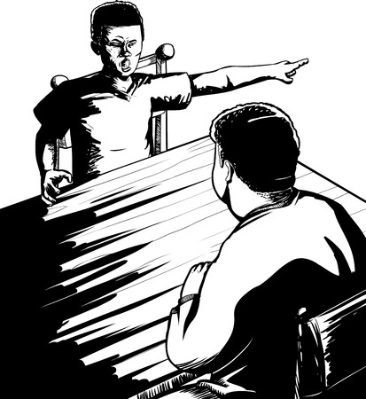 yelling: Outline illustration of angry male child yelling at parent Illustration