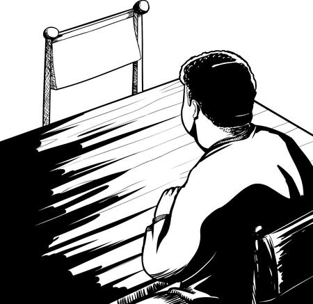 Overzicht van man aan tafel zitten met lege stoel Stock Illustratie