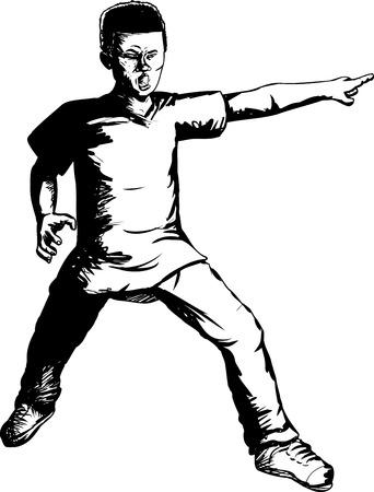 Outline illustration of brave Black teen pointing finger Stock Vector - 45141686