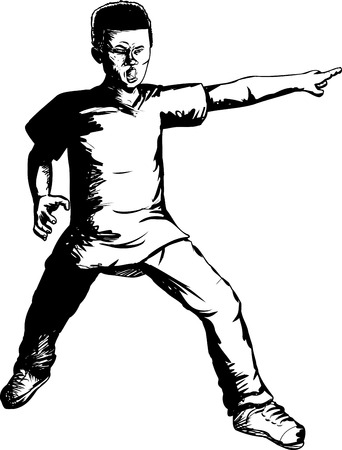 Outline illustration of brave Black teen pointing finger