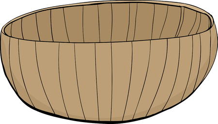 empty bowl: Hand drawn illustration of a bamboo bowl on white