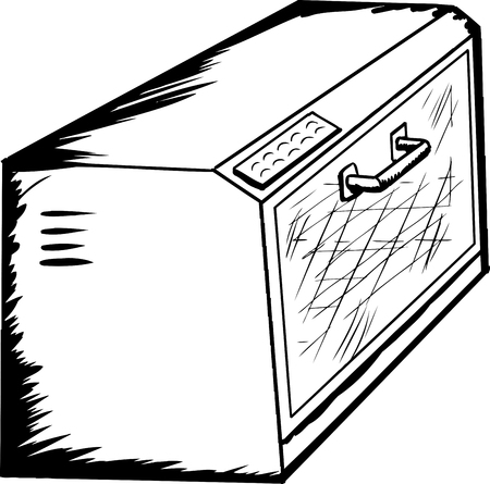 Hand drawn cartoon of an empty toaster oven over white
