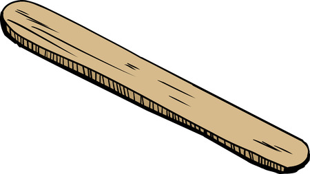 depressor: Single isolated cartoon wooden tongue depressor over white