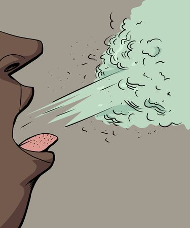 Close up cartoon of person coughing out virus