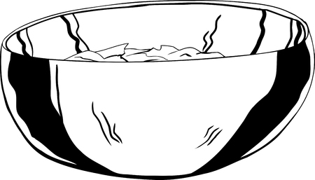 stainless: Single outline of stainless steel bowl with salad inside