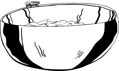 stainless: Outline of stainless steel bowl with cockroach on top Illustration