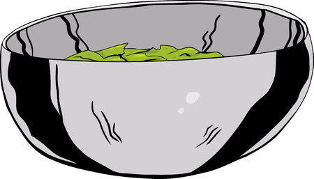stainless: Single cartoon stainless steel bowl with salad inside