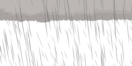 Gray clouds and rain over white background illustration