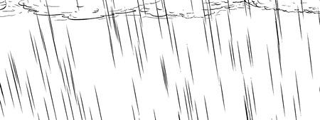dark clouds: Outline illustration of dark clouds and falling rain Illustration