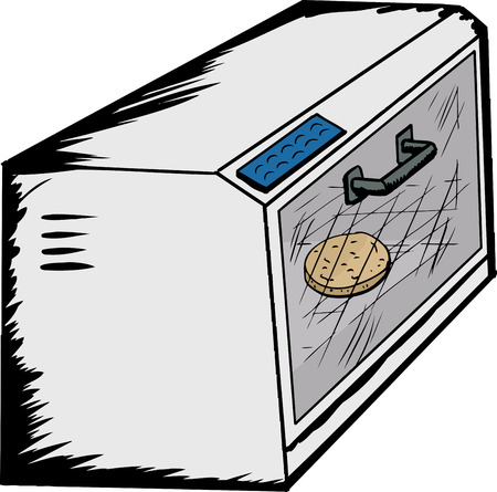 Cartoon of a single toaster oven with english muffin inside
