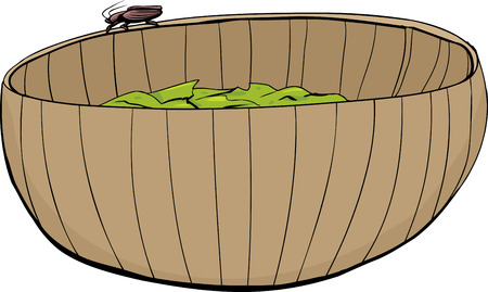disgusting animal: Roach crawling on edge of wooden salad bowl Illustration