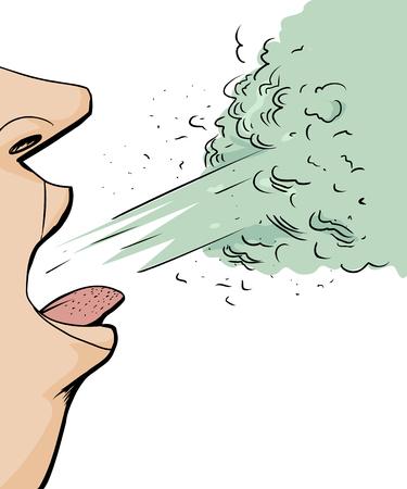 tosiendo: Cartoon cerca de la persona toser sobre fondo blanco Vectores