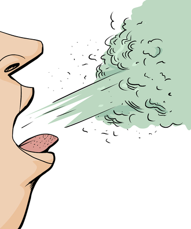 Cartoon close up of person coughing over white background