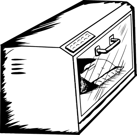 Outlined toaster oven with package of food warming inside