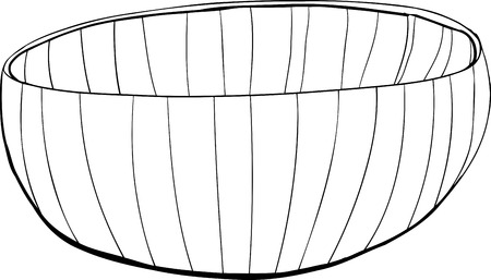 empty bowl: Hand drawn outline of a bamboo bowl on white Illustration