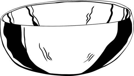 drawn metal: Single outline cartoon of stainless steel bowl