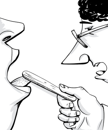 examining: Outline of doctor with eyeglasses examining patient with open mouth