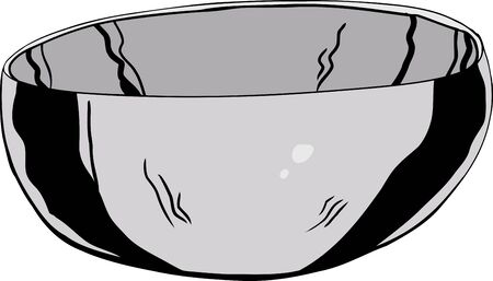 stainless: Single hand drawn stainless steel bowl over white Illustration
