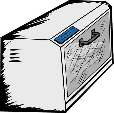 Hand drawn illustration of an empty toaster oven over white