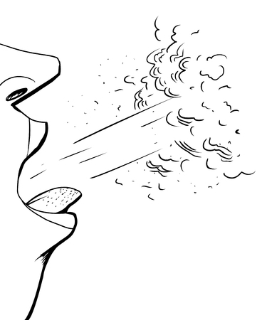Close up outline illustration sick person coughing
