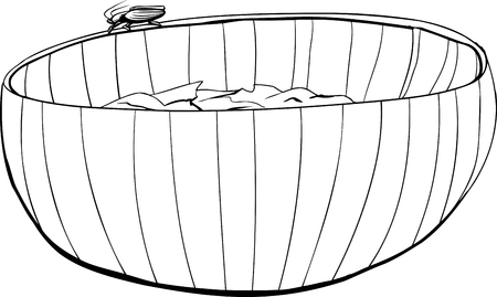 disgusting animal: Outline of cockroach crawling on wooden salad bowl
