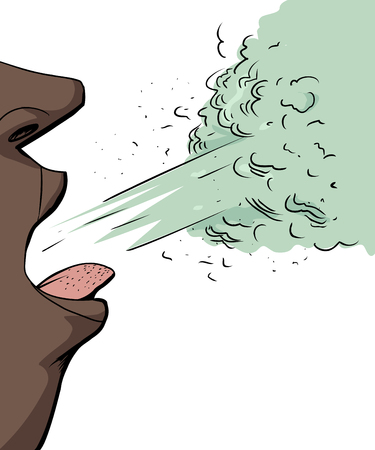 Single isolated close up of person sneezing