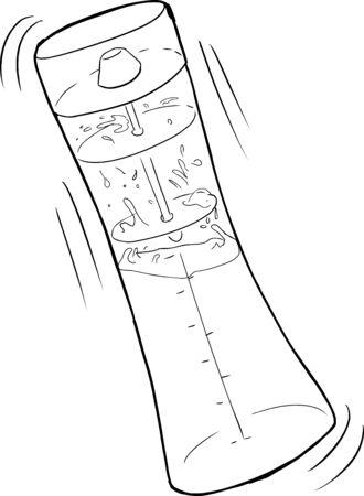 salatdressing: Skizziert Salatso�e Mischflasche auf wei�em Hintergrund Illustration