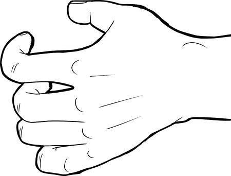cramping: Outlined human hand holding nothing over white background Illustration