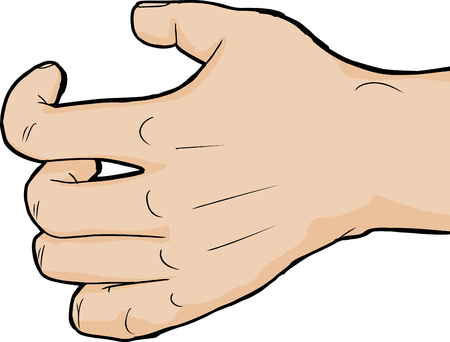 cramping: Single hand close up holding nothing over white background Illustration