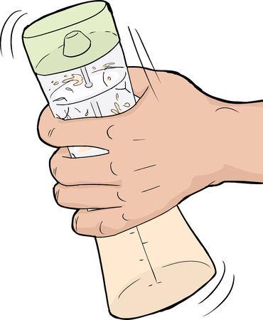 salatdressing: Einzel menschlichen Hand sch�tteln ein Salat-Dressing-Mischung