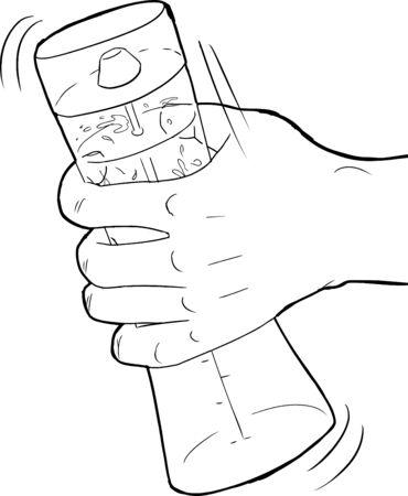 salatdressing: Skizziert Hand sch�tteln ein Salat-Dressing-Mischer