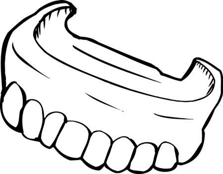 dentures: Close up outlined illustration of dentures over white