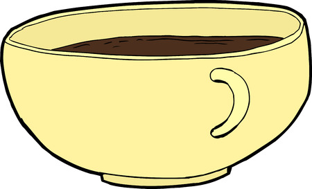 Isolated cartoon full cup of coffee over white Ilustrace