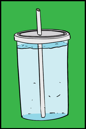 seltzer: Seltzer water in cup with straw over green