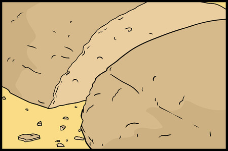 loaf: Cut loaf of bread with crumbs illustration