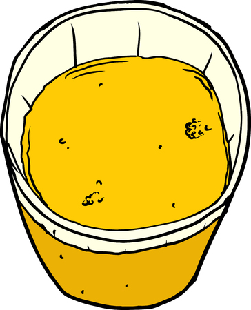 sketch out: Isolated illustration of single glass with orange juice Illustration