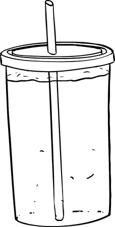 seltzer: Outline illustration of full cup with straw and soda inside